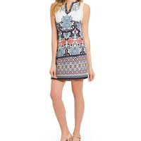 Laundry by Shelli Segal V Neck Printed Sheath Dress | Dillards