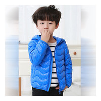 Child Wave Pattern Light Thin Down Coat Hooded   sapphire   100cm