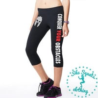 Conquer Your Obstacles Lady Spartan Capri Performance Pant, workout legging, running capri, running legging, gym leggings, workout leggings.