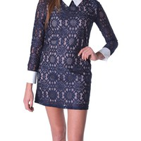 Carla's Lace Shift Dress - Navy/Nude