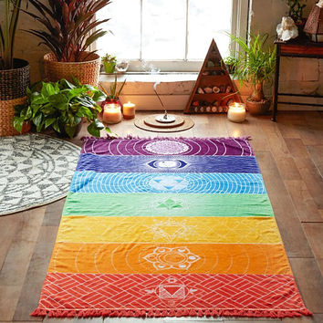 Bohemia Wall Mandala Blanket 7 Chakra Colored Tapestry Rainbow Stripes Travel Summer Boho Beach Towel Yoga Mat