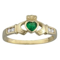 Claddagh Ring 10K Gold Synthetic Emerald & CZ-Size 4-9.5 Irish Made