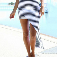 Black and White Striped Asymmetrical Maxi Skirt
