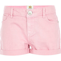 River Island Girls pink denim shorts
