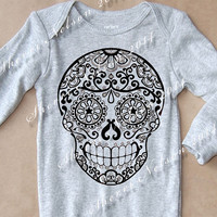 Baby Sugar Skull Romper. Mendhi Tattoo Onesuit Long Sleeve Light Gray. Rockabilly Day of the dead toddler clothes. 3m 6m 12m Cotton bodysuit
