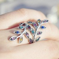 Telegant wave wind and colorful drill crystal ring