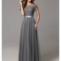 2016 Grey Long Modest Lace Tulle Floor Length Women Bridesmaid Dresses Short Sleeves Sheer Neckline Formal Wedding Party Dress