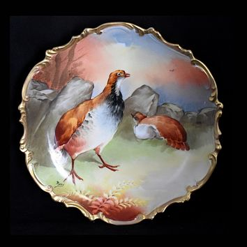 Antique Limoges Hand Painted Hunting Game Bird Plate Signed Roty EXCEPTIONAL