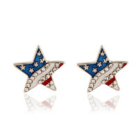 Crystal Rhinestone American US Flag Star Stud Earrings Post Earring Independence Day 4th of July Souvenir Ear Studs Jewelry