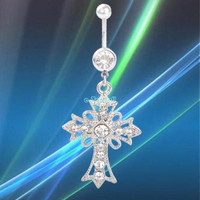 Clear Crystal Corss Dangle Navel Belly Button Bar Ring Body Piercing Beauty Jewelry