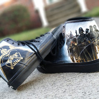 Star Wars Bounty Hunters Hand Painted High Top Canvas Lace Up Shoes