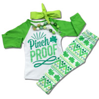 """St Patrick's Day """"Pinch Proof"""" Outfit XS 18-24M"""