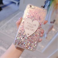"""Mobile phone shell transparent glitter phone case quicksand flowing liquid protective CASE for iphone 5 5s 6 4.7"""" 6plus 5.5 """""""
