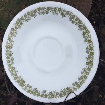 Retro Corning Corelle Spring Blossom saucers for flat cups, retro kitchen dishes, green flower plates, crazy daisy saucers, white and green