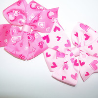 Valentine hair bows, toddler bows, infant pink heart bows baby bows girls pinwheel hair bow valentine hearts on pink n hot pink ribbon .