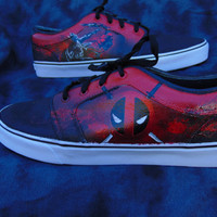 Deadpool Hand Painted Canvas Lace Up Shoes