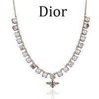Dior Fashion Women Classic Pearl Bee Pendant Necklace Jewelry