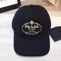 PRADA fashion casual men and women embroidered logo sports cap