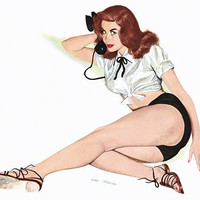 Pinup Poster Redhead On The Phone With Black