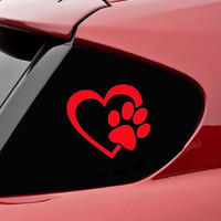"HEART with DOG PAW Puppy Love 4"" (color: RED) Vinyl Decal Window Sticker for Cars, Trucks, Windows, Walls, Laptops, and other stuff."