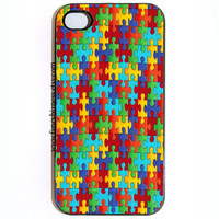 iPhone 4 4s Puzzle Pieces Hard Snap On iPhone Case