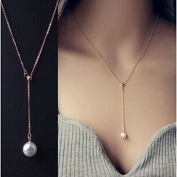 New Arrival Jewelry Stylish Gift Shiny Korean Lock Adjustable Pearls Pendant Necklace [11525818644]