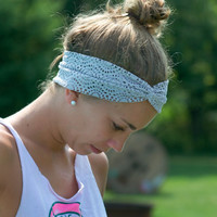 Grey Lace Turban Headband