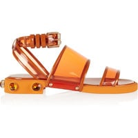 Givenchy - Orange plastic and leather flat sandals