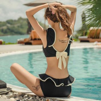 Women's Sexy Bikinis Sets Solid Color High Waisted Ruffle Padded Two Pieces Bathing Suit Quick Dry Triangle Bikini Set Swimwear