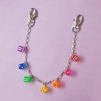Rainbow Roll the Dice Clear Pocket Chain