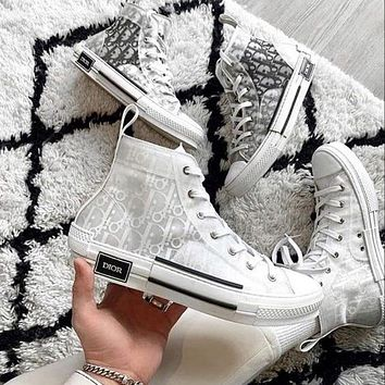 Dior CD New mesh lace-up sneakers Men and women flat sports hip-hop sneakers Letter high-top shoes Casual shoes 2