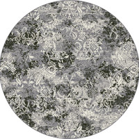 Dynamic Rugs Ancient Garden Grey Distressed Round Area Rug