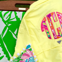 Preppy Lilly Pulitzer Monogrammed Columbia PFG Fishing Shirt Cover Up