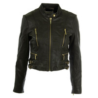 MICHAEL Michael Kors Womens Leather Cropped Motorcycle Jacket