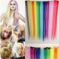 2xFashion Hair Extension Long Synthetic Clip In Extensions Straight Hairpiece Hair dye