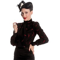 Hell Bunny Dark Beauty Night Falling Feather Bow Tie Neck Black Blouse Top