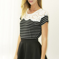 All About That Lace Striped Tee - Black
