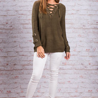 Any Lace But Here Sweater, Olive