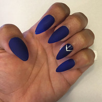 Matte and Gloss Velvet Blue nail set with silver accent finger, fake nails, false nails
