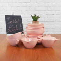 Mixed Lot of Marcrest Pink Melmac Dishes Retro Travel Trailer, Picnic Ware, 1950s Pink Kitchen