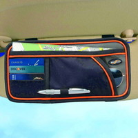 Visor Organizer Black Orange Trim