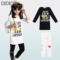 Girls Clothing Sets Fashion Long Sleeve T-Shirts & Leggings 2 Pcs Tracksuits Casual Kids Sports Suits For Girl Children Clothing
