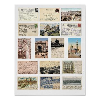 Vintage Ephemera Postcards Letters Collage Poster