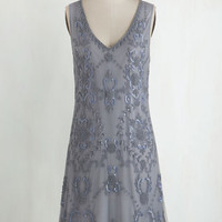 Vintage Inspired Sleeveless Shift Bead It Dress in Grey