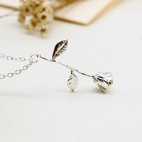 Rose Gold,  Sterling or Yellow Gold Delicate Stem Rose Necklace