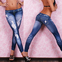 New Arrive Ladies Women Leggings Stretch Elastic Slim Bleach Ripped Skinny Pencil Jeans Denim Pants High Quality