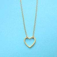 Love is an open door, Gold, Silver, Open, Heart, Simple, Dainty, Cute, Jewelry, Heart, Jewelry, Simple, Heart, Necklace, Christmas, Gift