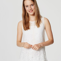 Sheer Lace Peplum Shell | LOFT