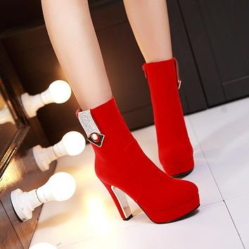 Rhinestone Ankle Boots High Heels Women Shoes Fall|Winter 3055