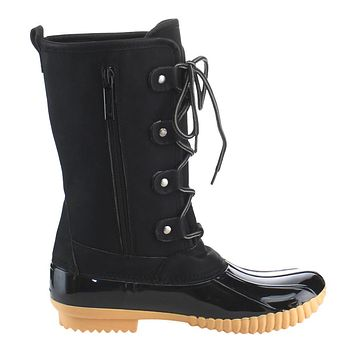 FF79 Women's Shoes Mid Calf Lace Up Inside Zip Duck Boots